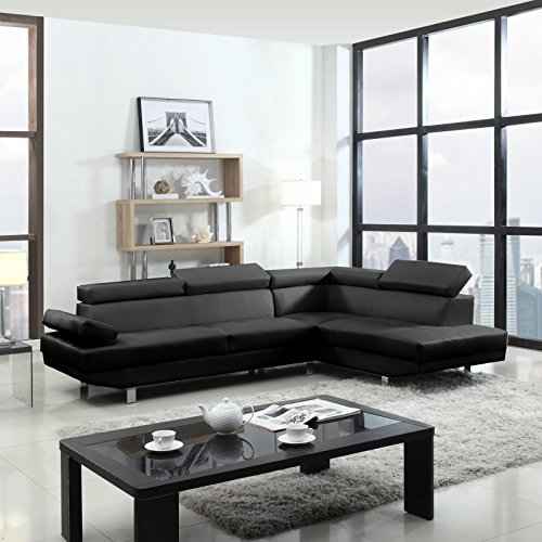 2 Piece Modern Contemporary Faux Leather Sectional Sofa Hour Modern
