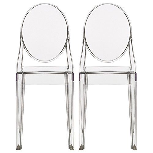 2xhome Set of Two (2) – Clear – Victoria Style Ghost Side Chairs Dining Room Chairs – Victorian Accent Seat – Lounge No Arm Arms Armless Less Chairs Seats Higher Fine Modern Designer