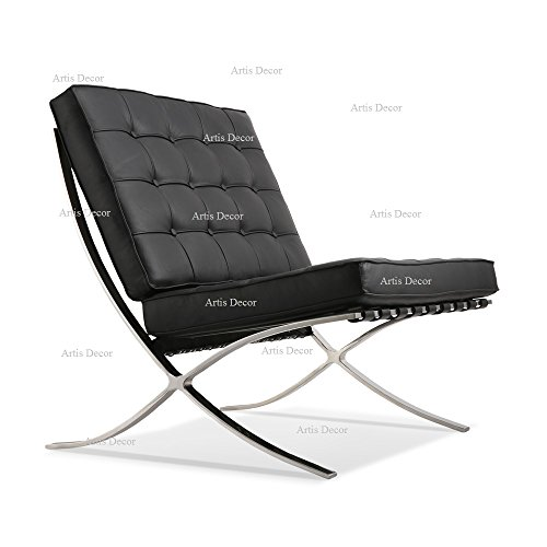 ArtisDecor Premium Lounge Chair Made with Top Grain Italian Leather – Black