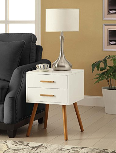 Convenience Concepts Oslo 2-Drawer End Table, White