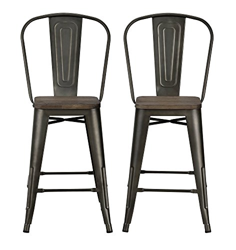 Dhp Luxor Metal Counter Stool With Wood Seat And Backrest