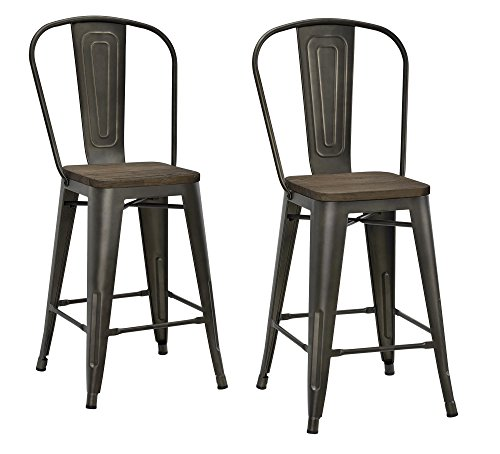 DHP Luxor Metal Counter Stool with Wood Seat and Backrest, Set of two, 24″, Antique Copper