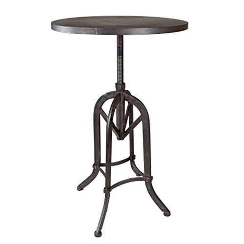 Design Toscano Industrial Revolution Adjustable Height Side Table, Black
