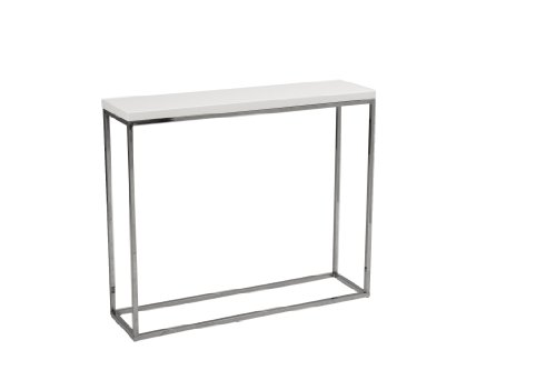 Euro Style Teresa Rectangle Lacquer Top Console Table, White with Polished Stainless Steel