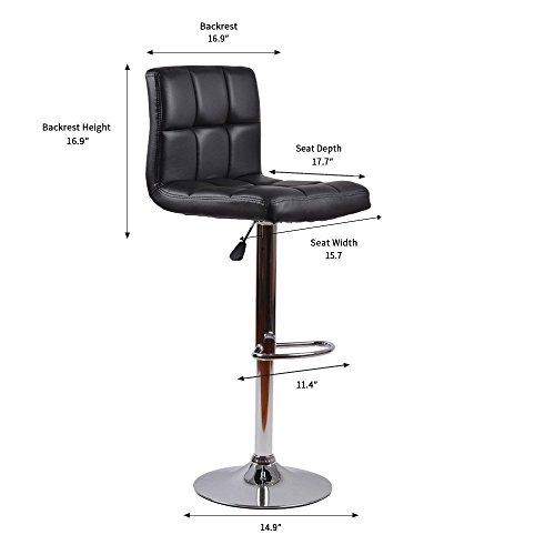 Homall Bar Stools Swivel Black Bonded Leather Barstool