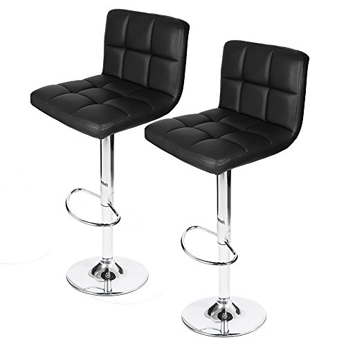 Homall Bar Stools Swivel Black Bonded Leather Barstool Adjustable Counter Height Bar Stool, Set of 2