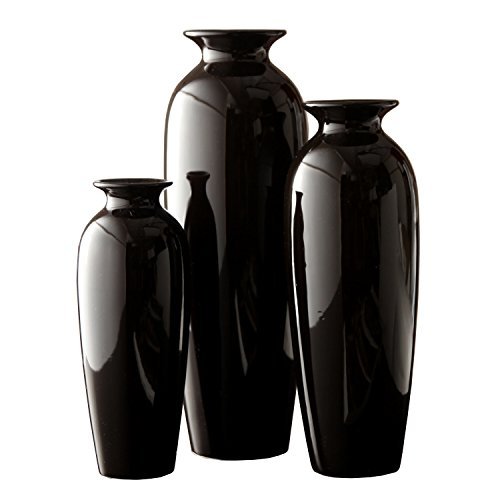 Hosley Set of 3 Black Ceramic Vases in Gift Box. Ideal Gift for Wedding or Special Occasions for Use in Home Office, Decor, Floor Vases, Spa, Aromatherapy Settings O3