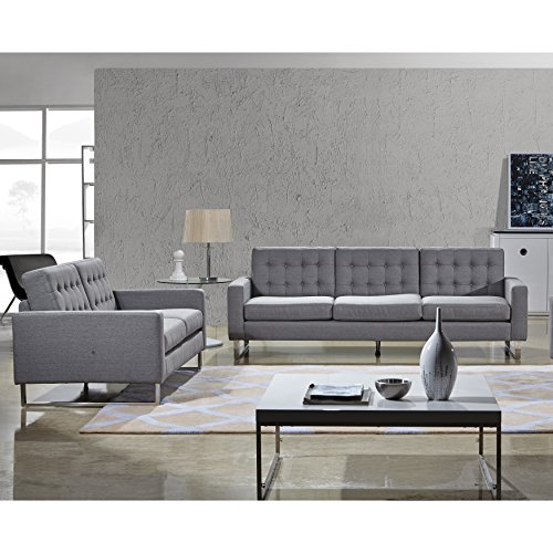 Angela Fabric Modern SofaLoveseat and Chair Set Hour Modern
