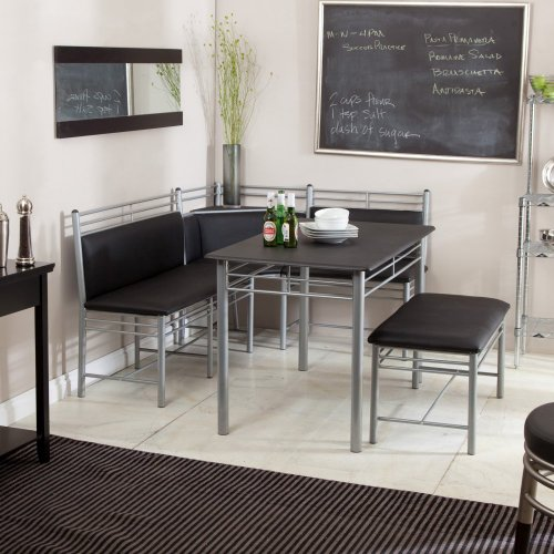 breakfast nook black family diner 3 piece corner dining set enjoy the best kitchen table. Black Bedroom Furniture Sets. Home Design Ideas