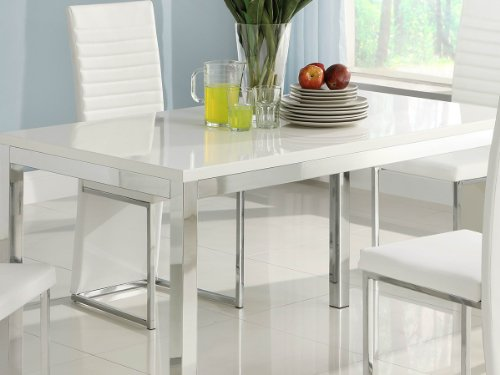 Clarice Dining Table and Side Chair by Home Elegance in Gloss White
