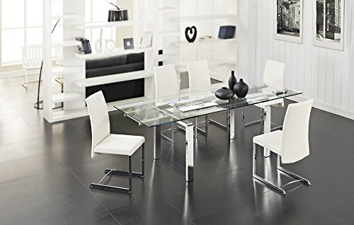 Creative Furniture Stark Extendable Dining Table, Transparent/Silver
