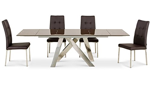 Zuri Furniture Cruz Expandable Modern Dining Table With Chocolate