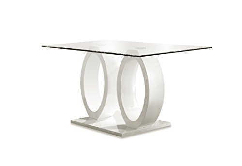 Furniture Of America Quezon Glass Top Double Pedestal Dining Table - Modern double pedestal dining table