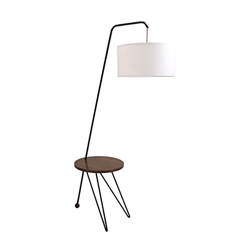 Modern Floor Lamp with Table in Walnut and White