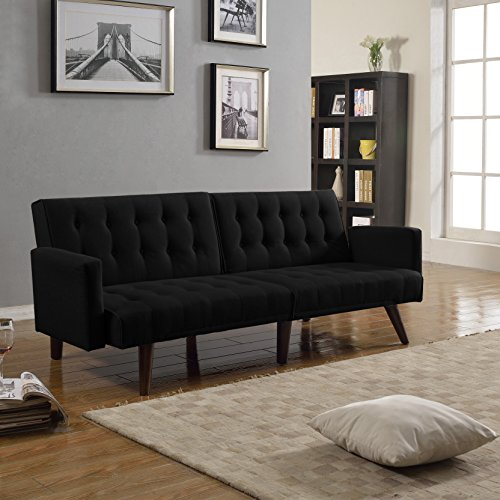 Modern Convertible Tufted Bonded Leather Splitback Sleeper Sofa Futon