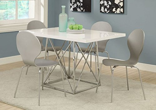 Monarch I 1046 36 by 48-Inch Dining Table, White Glossy / Chrome Metal