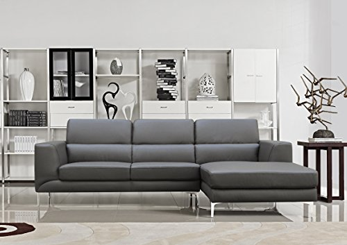 US Pride Furniture Yuri Grey Leather Facing-Right Chaise Contemporary Sectional Sofa Set