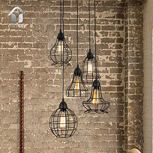 Unitary Brand Rustic Barn Metal Chandelier Max 200w with 5 Lights Painted Finish